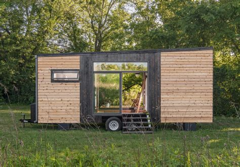 garage door tiny house tricked out tiny home features garage door and custom deck curbed