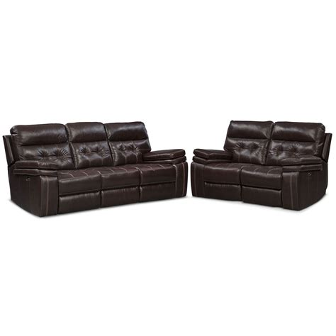 Power Reclining Sofa Set Brisco Power Reclining Sofa And Reclining Loveseat Set Brown Value City Furniture