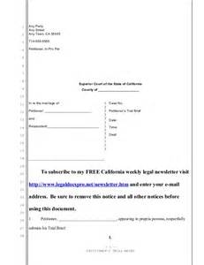 Trial Brief Template by Sle Trial Brief For California Divorce