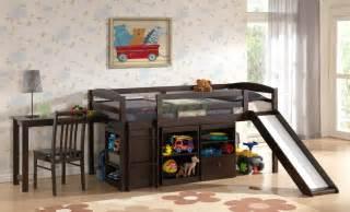 Log Loft Bed With Desk Mulberry Boys Amp Girls Cabin Loft Beds With Slide Desk