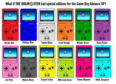 gameboy advance color boy advance sp the idolm ster colors by