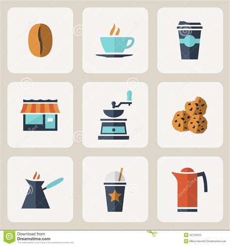 coffee shop flat design flat design coffee icons set stock vector image 42743415