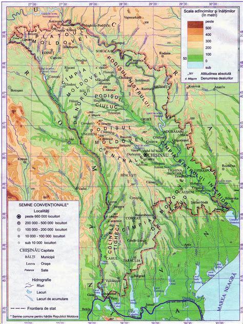large map of large detailed physical map of moldova vidiani
