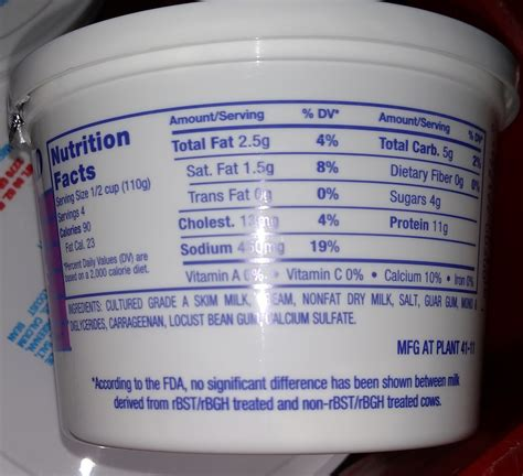 Nutritional Information For Cottage Cheese by Cultured Eberhard S Dairy Products