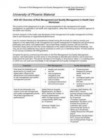 hcs 451 overview of risk management and quality management