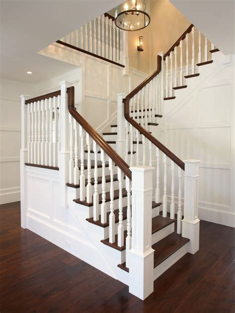 wood banister rop banister cottage entrance foyer kate jackson design