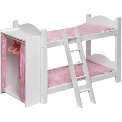 badger basket doll bunk bed with ladder and armoire fits