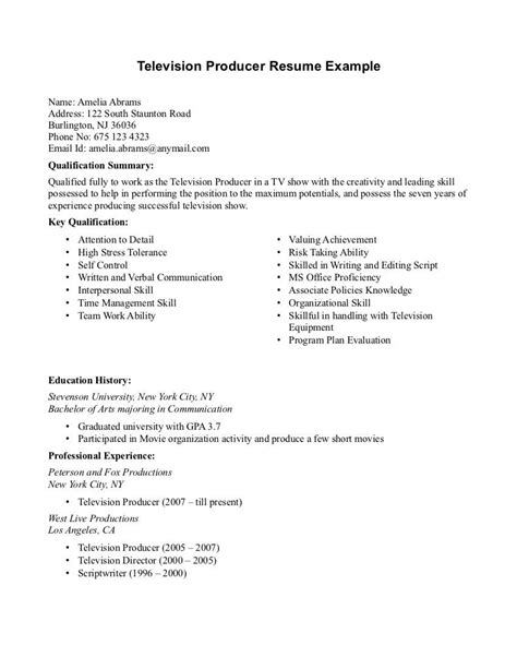 Tv Show Producer Cover Letter by Television Producer Resume Sle Resumes Design