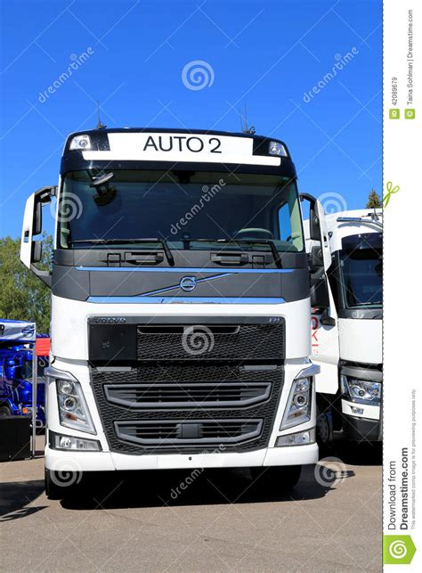 white volvo truck white volvo fh truck front view editorial stock image