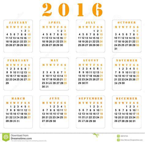Calendrier Numéro Semaine 2016 Calendrier 2016 Photo Stock Image 48310754