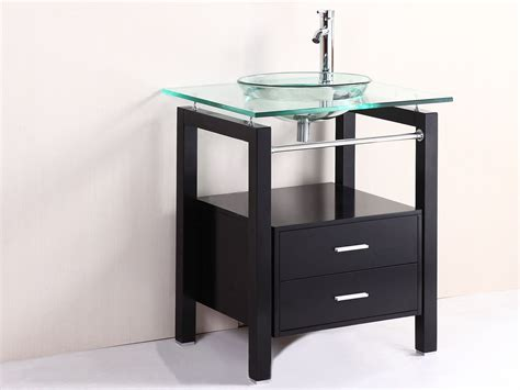 glass bathroom vanity with vessel sink creative bathroom decoration