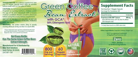 Label Detox Tea Coffee Weight Loss Antioxidant by Green Coffee Bean Extract Weight Loss Diet Cleanse