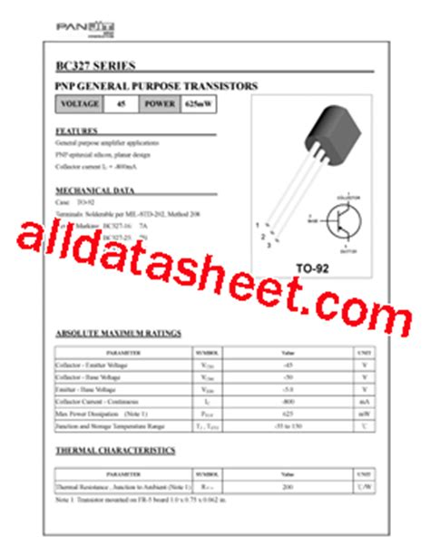 transistor d2012 pin configuration bc327 datasheet pdf pan jit international inc