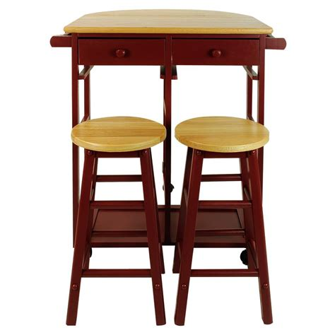 casual home casual home red breakfast cart with drop leaf table 355 29