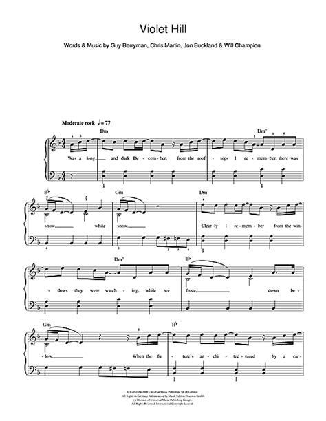 coldplay violet hill chords coldplay violet hill sheet music