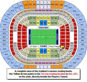 st louis rams seating chart front row directly by tunnel 49ers st louis rams