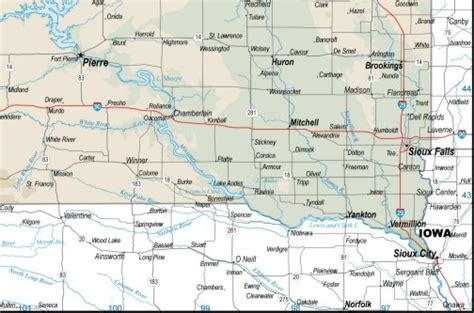 printable south dakota road map south dakota map topographic download to your computer