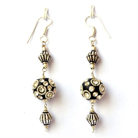 Handmade Earrings With - handmade earrings black with metal rings