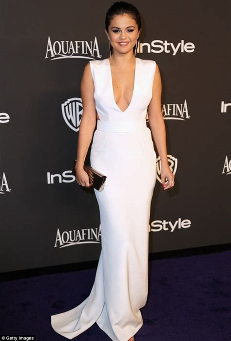 Selena Gomez White Evening Dress 2015 InStyle and Warner