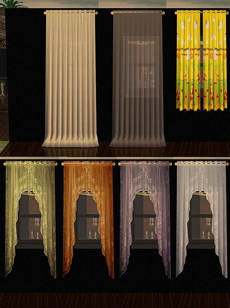 cozy curtains mod the sims cozy textiles 36 recolors of individual curtain