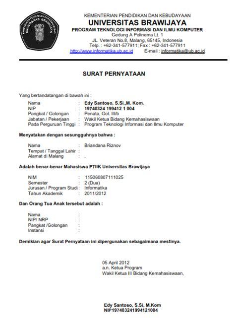 contoh surat pernyataan mahasiswa ptiik universitas brawijaya