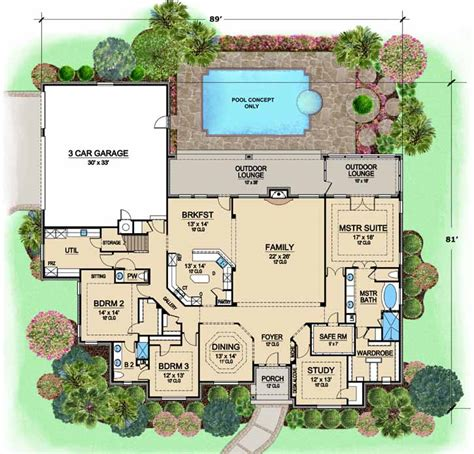 monster house floor plans luxury style house plans 3734 square foot home 1 story