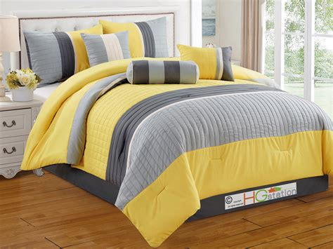 striped comforter 7 pc quilted square pleated striped comforter set king