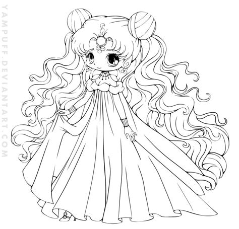 chibi princess coloring pages nehelenia chibi lineart commish by yampuff on deviantart