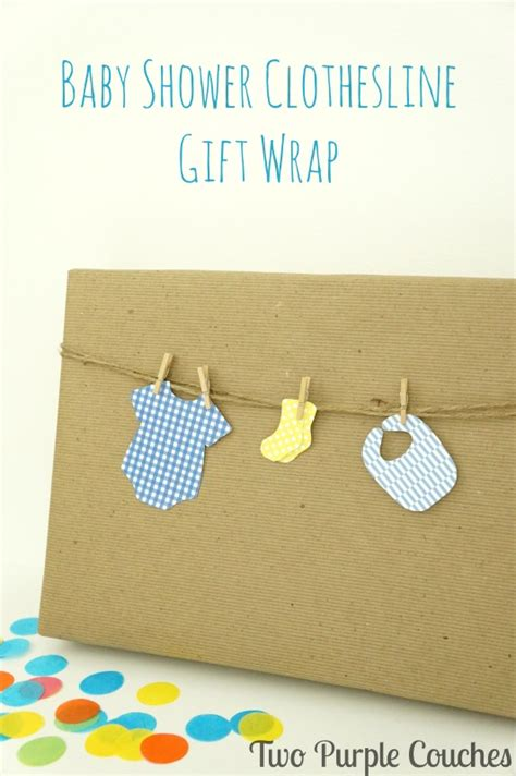 Baby Shower Clothesline Gift by Baby Shower Clothesline Gift Wrap Two Purple Couches