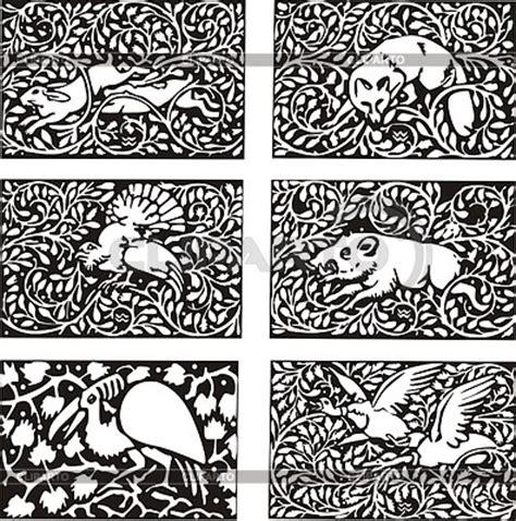 Muster Jugendstil Muster Mit Tieren Im Jugendstil Stock Vektorgrafik Cliparto