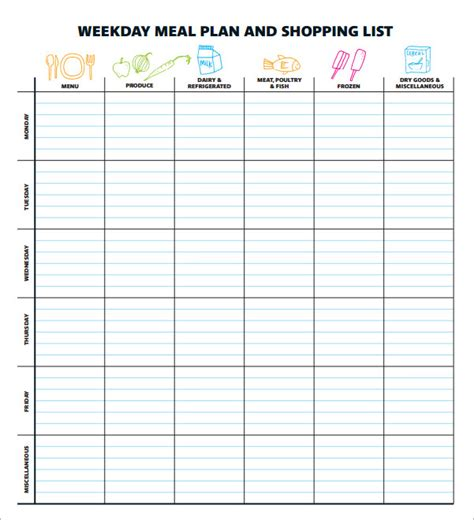 meal planning template sle meal planning template 16 free documents