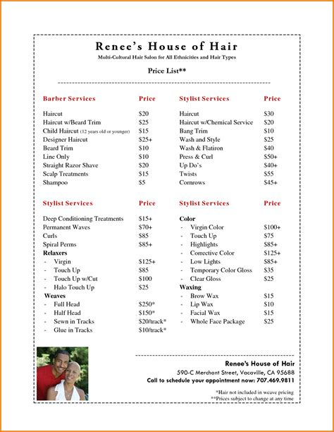 Price Menu Template by Menu Price List Template Best Free Home Design Idea