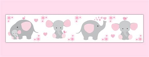 Pink Wallpaper Borders For Nursery pink grey elephant nursery baby wallpaper border wall