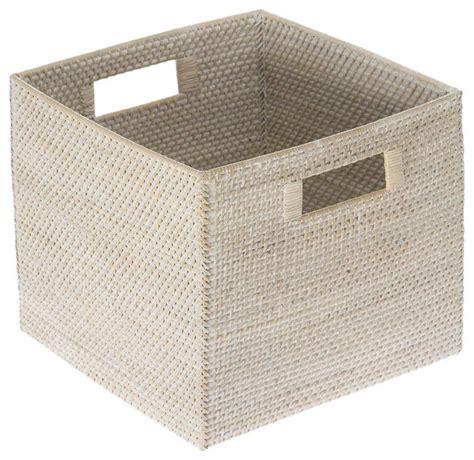 square baskets for shelves kouboo laguna square rattan storage basket white wash