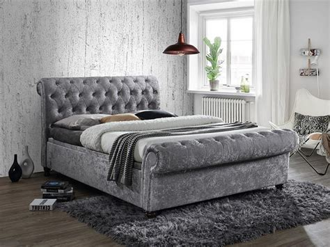 grey velvet bed contemporary grace fabric storage bed in silver grey