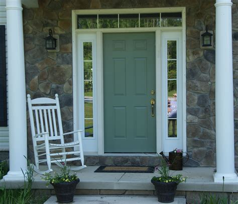 front door and side panel colonial style green painted oak wood front door with
