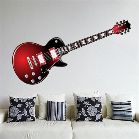 Guitar Wall Stickers red electric guitar wall mural decal music wall decal