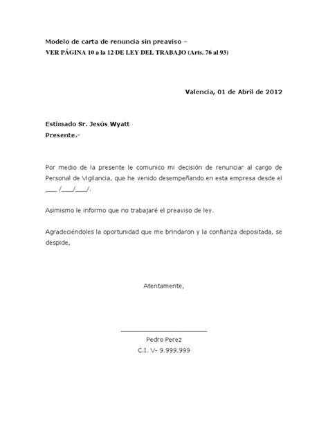 Carta De Renuncia Ejemplo Ecuador modelo de carta de renuncia preaviso