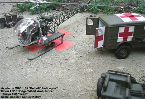 mash jeep bell 47d scale model helicopter ambulance and jeep