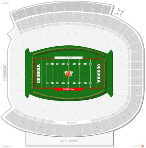 what is section number in college how many rows are in each section at sanford stadium for