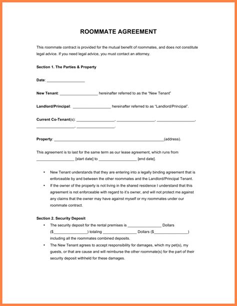 Agreement Letter Sle For Contract tenancy agreement template for renting a room 28 images