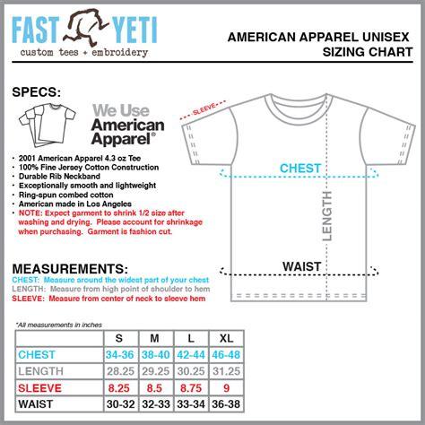 american apparel size chart fastyetitees size charts