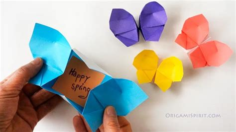 Origami Birthday Box - make a rainbow of origami butterflies origami butterfly