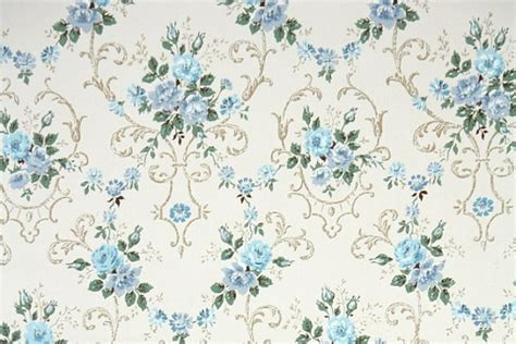 wallpaper pattern vintage blue 1940s vintage wallpaper by the yard floral wallpaper with