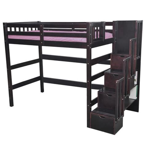 Bunk Beds With Futon Underneath by Staircase Loft Bed Espresso Stairway Single Loft Bed