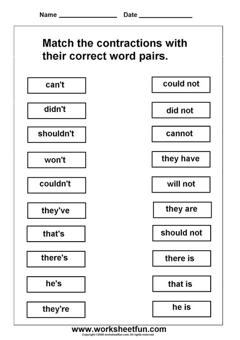 printable contraction games contraction worksheets for first grade worksheets