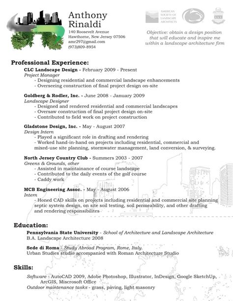 Landscape Architecture Resume Sle by Best 25 Architect Resume Ideas On