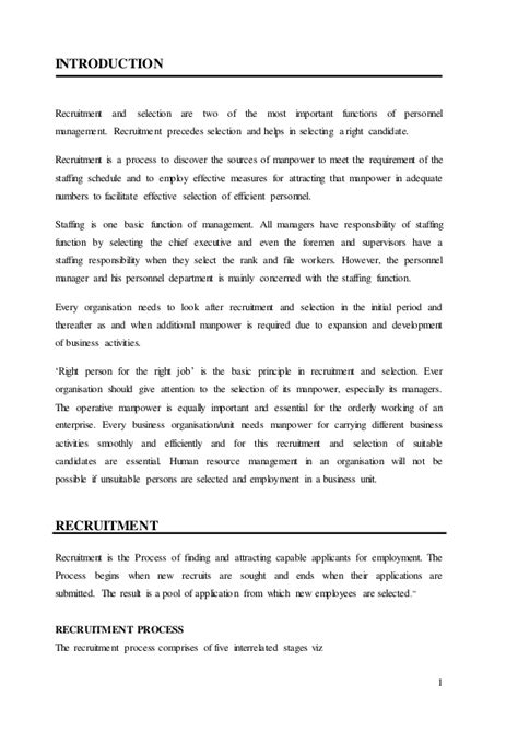 Mba Hr Project Synopsis On Recruitment And Selection by Mba Hr Summer Report
