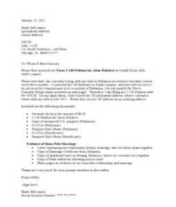 i 130 and i 485 cover letter sle application letter sle uscis i 130 cover letter sle