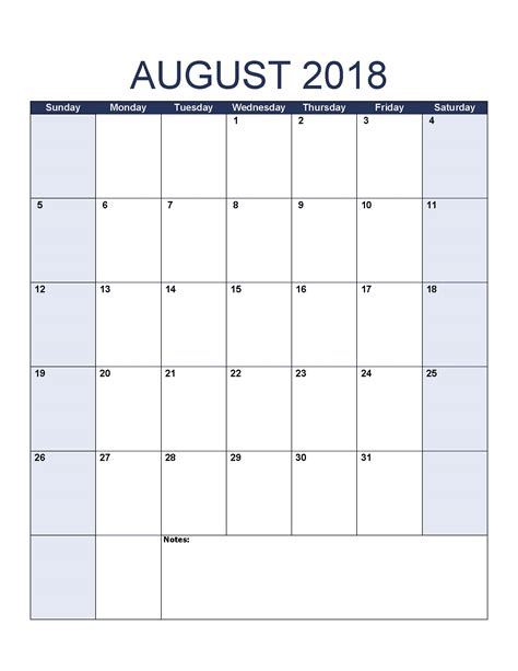 Free August 2018 Calendar Printable Template Us Canada Uk Europe Printable Templates Letter August 2018 Calendar Template